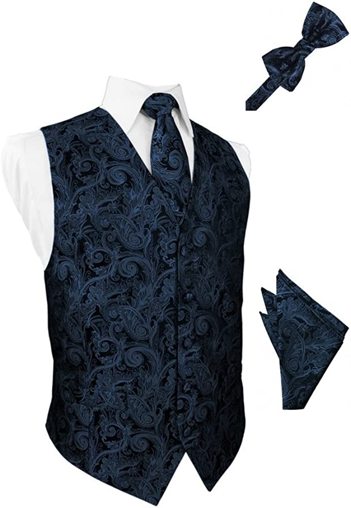 Peacock Paisley Satin Tuxedo Vest with Long Tie Bowtie and Pocket Square Set