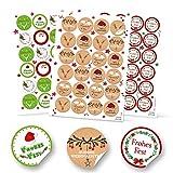 SET 3 x 24 runde Aufkleber Weihnachten rot grün weiß grau beige natur schwarz Frohes Fest Etiketten weihnachtliche Verpackung