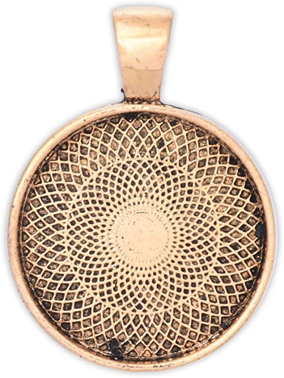 Gothic circle pendant with cabochon 20 mm 0.98 inches Black Striped Onyx silver plated copper frame 30 mm 1.18 Inches
