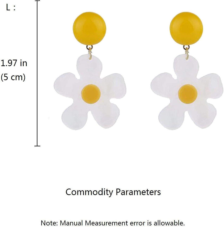 Clip on Earrings for Women Girls White Flower Earrings Daisy Dangle Drop Simple Non Pierced Minimalism