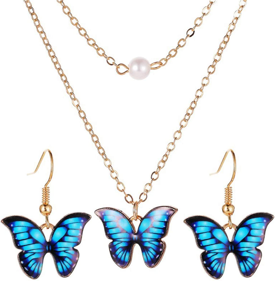CH01 Butterfly Jewelry Sets Necklace Earrings for Women Colorful Double Faux Pearl Butterfly Pendant Necklace Earrings Jewelry Set