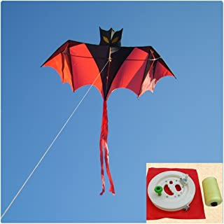 BestBang 3.28ft Portable Bat Windsock Kite for Kids and Adults Outdoor Beach Sports Fun Games Activities(with Wheel and Flying Line)