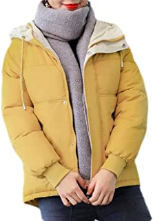 Macondoo Women Winter Loose Coat Quilted Hoodie Puffer Short Down Jacket