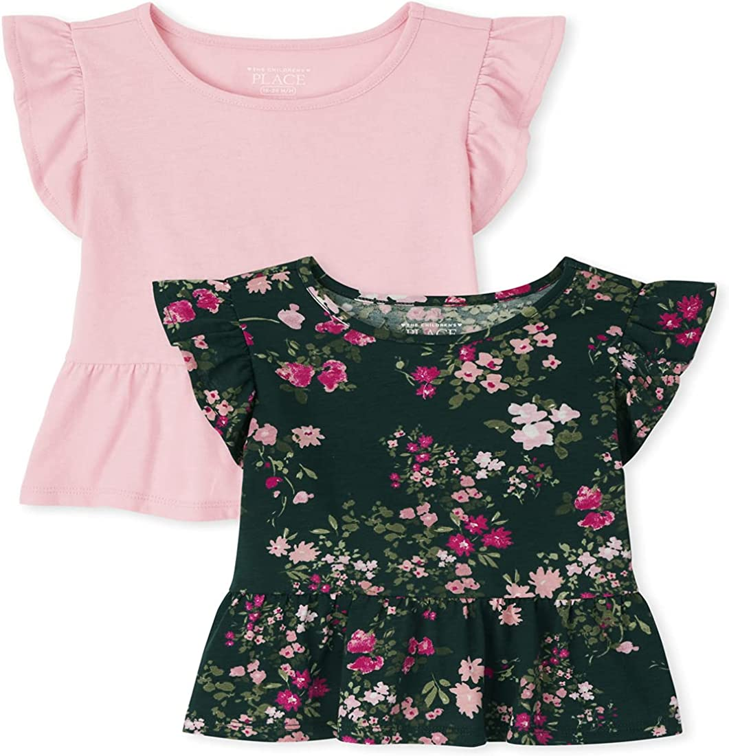 The Children's Place Baby Toddler Girl Short Ruffle Sleeve Floral Print and Solid Peplum Top 2-Pack