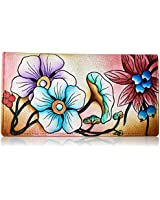 Anna by Anuschka Women's Handpainted Leather Ladies Wallet Snap Button Closure, Floral Berries Wine, One Size