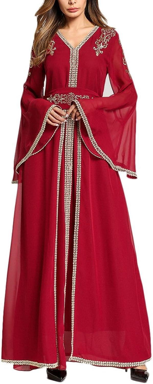 Zhhmeiruian Fashion VNeck Long Maxi Dress Caftans Jalabiya Abaya Dresses for Women