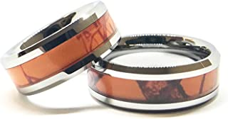 Southern Designs Orange Camouflage His & Her Ring Band Set (His 8 Hers 5.5)