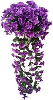 Paymenow Artificial Fower, 1 Bunches of Artifical Fake Flower Violet Bracketplant Wall Hanging Garland Vine Flower Traling (Purple)