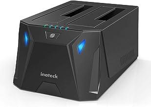 """Inateck USB 3.0 zu SATA Dualschacht Festplatten-Dockingstation für 2,5"""" und 3,5"""" SATA HDD und SSD, Offline-Klonfunktion, Unterstützt UASP und 2 x 10 TB Laufwerke, Gaming Style, (FD2005)"""
