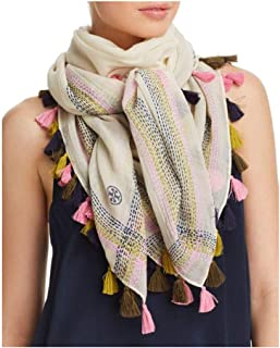 Tory Burch Embroidered Oversized Wool Square Tassel Scarf