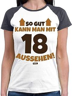 """Hariz - Camiseta de béisbol para mujer, diseño con texto en alemán """"So Gut Kann Man mit 18 Aussehen 2 18"""", divertida, idea..."""