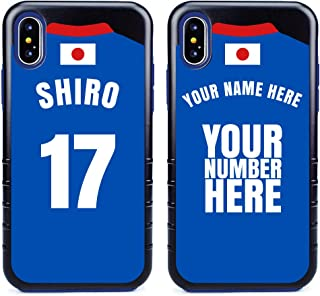Custom Japan Flag Soccer Jersey Cases for iPhone X/XS by Guard Dog – Personalized – Put Your Name and Number on a Phone Case. Includes Screen Protector (Black,Blue)