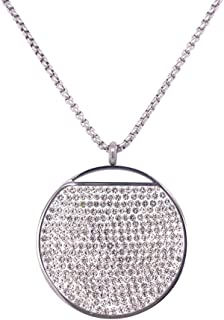 Bevilles Stainless Steel Pave Crystal Disc Necklace SS18BV-N26SV Pendant