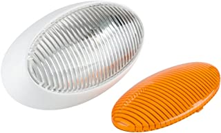 Lumitronics RV 12V Oval Porch Utility Light - Clear & Amber Lenses (White)