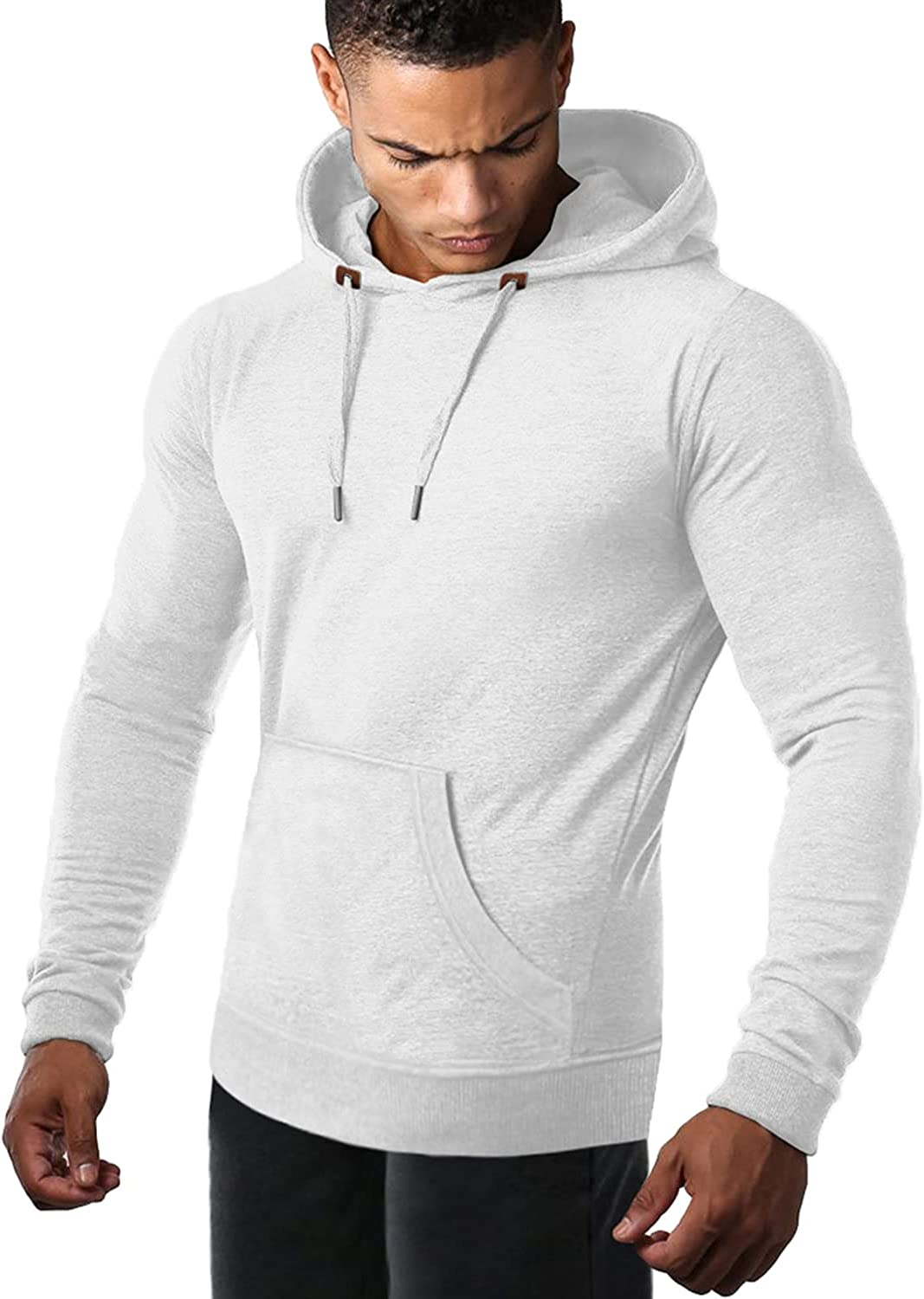 COOFANDY Men's Athletic Hoodie Long Sleeve Drawstring Sports Pullover Hooded Gym Workout Sweatshirt with Pockets