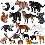 Max Fun 18pcs Woodland Forest Animals Toys African Animal Figurines Cake Toppers with Elephant Giraffe Gorilla for Kids Party Favors