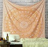 Elephant Mandala Tapestry Cotton Wall Hanging Hippy Tapestries Hippie Beach Throw College Dorm Decor Bohemian Boho Bedsheet - Orange - Queen - 90x84 inches