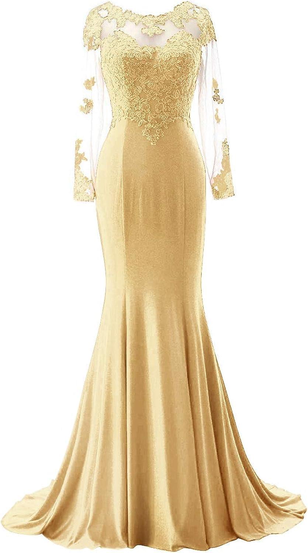 SUNFURA Women's Lace Mermaid Long Sleeves Sheer Back Prom Evening Party Dress