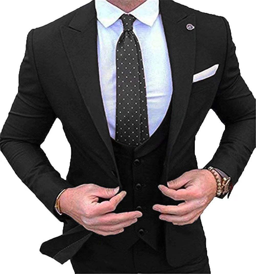 RONGKIM Men's Slim Fit 3-Piece Suit Blazer Dress Formal Wedding Party Jacket Vest & Pants Black