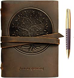 Carnet de Notes Cuir Véritable Journal Arbre De Vi