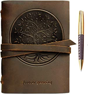 "Leather Journal Tree of Life Notebook Embossed Handmade Travel Diary, A5 Vintage Writing Bound for Men For Women Genuine Antique Rustic Leather 6""x8"" Engraved Paper Perfect for Notes Sketchbook + Pen"