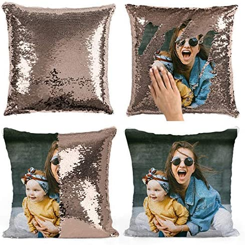 Custom Photo Sequin Pillow Personalized Mermaid Sequin Pillow Gift for Her Gift for Mom Custom product image