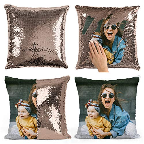 DREAM KARIN Custom Photo Sequin Pillow Personalized Mermaid Sequin Pillow Gift for Her Gift for Mom Custom Pillow Magic Sequin Pillow Personalized Gifts (Rose Gold/White, with Insert)
