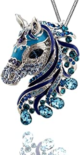 Beautiful Horse 3D Pendant Necklace Enamel Crystals 24