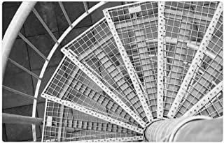 Tree26 Indoor Floor Rug/Mat (23.6 x 15.7 Inch) - Spiral Staircase Stairs Iron Steel Black and White