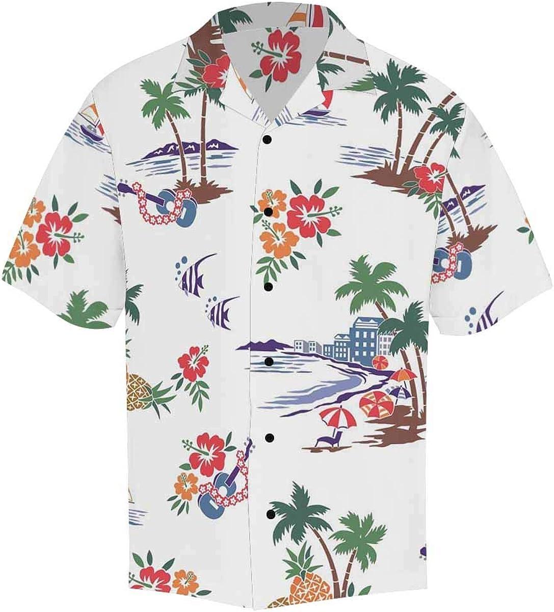 InterestPrint Men's Casual Button Down Short Sleeve Hippie Peace Love Hawaiian Shirt (S-5XL)