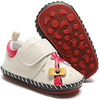 PanGa Baby Boys Girls Non-Slip Hard Bottom Rubber Sole Pu Leather Cartoon Walking Sneakers Toddler Infant First Walkers Cr...