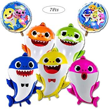 Shark Baby Latex Balloons for Kids Boys Girls Bithday Baby Shower Party Pool Party Under The Sea Shark Theme Party Decorations Supplies DOLM