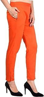 ladyline Womens Cotton Straight Trouser Pants Elastic Closure One Pocket