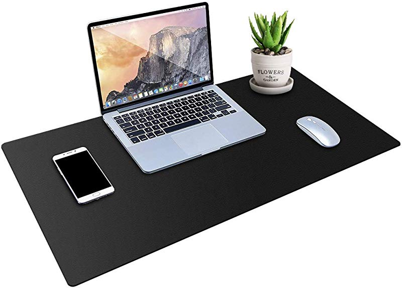 MONYES Thick Desk Pad Protector PU Leather Desk Mat Blotters Black Laptop Mat For Office Home 36 X 20