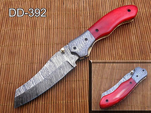 Damascus Steel Tanto Blade Folding Knife, Red Colored Scale, Equipped with Liner Lock and Thumb knob, Comes with Leather Sheath