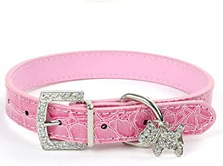 1 Set Bling Rhinestone Pink PU Leather Necklace Small Dog Puppy Pet Cat Collar Soft Elastic Bow Bell Tag Paramount Popular Extra Large Wide Reflective Safety Breakaway Training Camo Kitten Collars