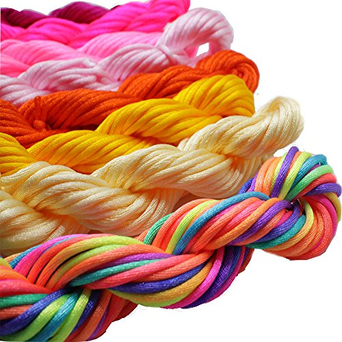 PAMIR TONG Full-Colors 18bundles 180 Yards 2.0mm Satin/Rattail Silk Cord for Necklace Bracelet Beading Cord