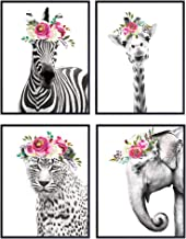 Jungle Animals Floral Watercolor Wall Art Print 4 Posters Set – Home Decor for..