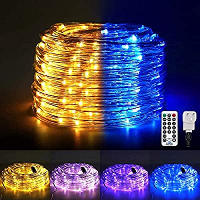 Ollny Rope Lights Plug in,120 Led Lights StripTube Lights,Colour Changing Fairy String Lights with Remote 11 Modes for Christmas Party Bedroom Patio Outdoor Indoor Garden Decoration(Warm White &Blue)