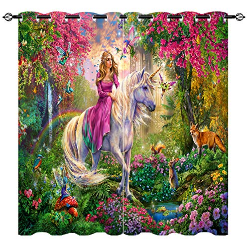 ANHOPE Unicorn Curtains, Unicorn & Beautiful Princess 3D Pattern with Fantasy Castle Forest Elf Animal Rabbit Bird Fox Rainbow Curtains for Girls Bedroom Art Decor Window Drapes, 2 Panels, 42' x 84'