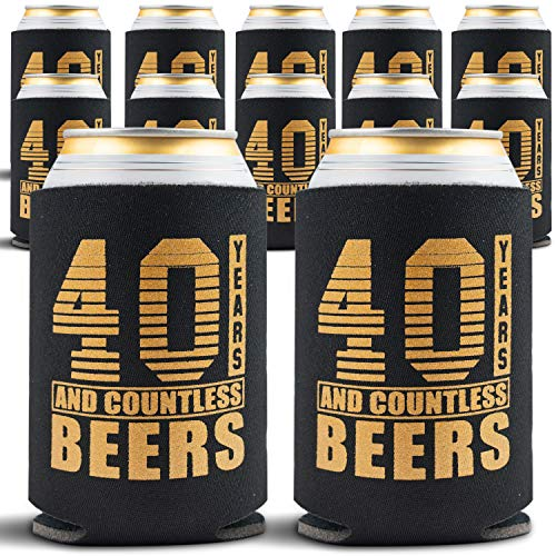 Happy 40th Birthday Decorations for Men, Insulated Can Beverage Sleeve, Birthday Party Favors for Him, 40 Year Old Birthday Gift Ideas, 12-Pack, Black & Gold