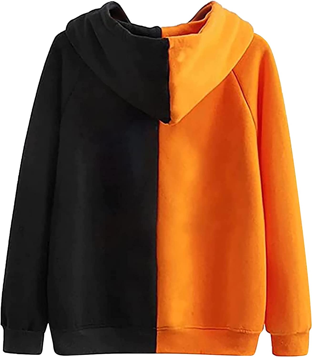 Womens Halloween Stitching Hoodies,Oversize Casual Long Sleeve Fall Hooded Sweatshirts Vintage Blouse Pullover Sweaters