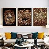 YFYW Gold Islamische Gemälde Leinwand Kunst Porträt Drucke Wandkunst Bild Für Wohnzimmer Decor-50x70cmx3 stücke kein Rahmen