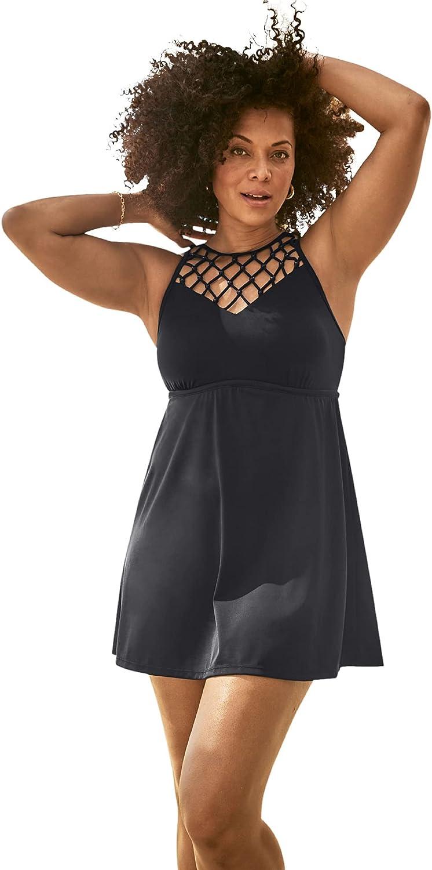 Swimsuits For All Women's Plus Size Beaded Macrame Swim Dress