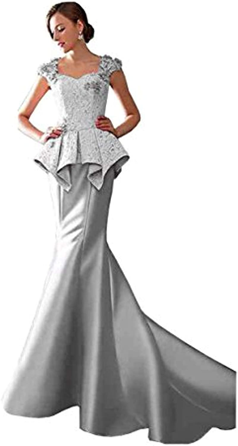 YHFDRESS Cap Sleeves Lace Appliques Ruffles Satin Mermaid Prom Gown See Through Evening Dress