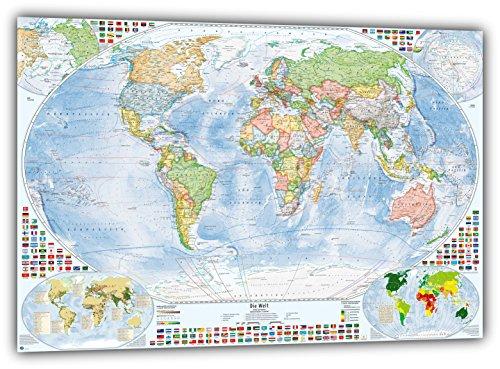 J.Bauer Karten Politische Weltkarte, 215x150 cm, deutsch, matt Folien-beschichtet