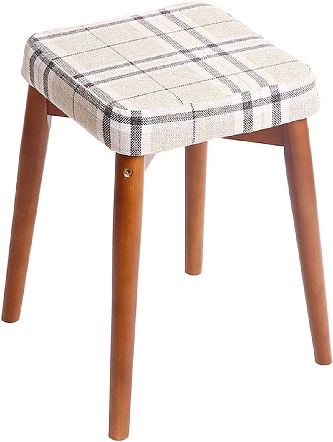 Stool Change shoes Stool Solid Wood Home Dining Table Stool Dressing Stool Creative Fashion Fabric Stool ZHAOSHUNLI (color   Walnut color, Size   Square Style)