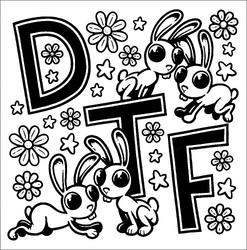 DTF with Bunnies, Flowers, and Stars Black and White Phenomenauts Sticker / Decal