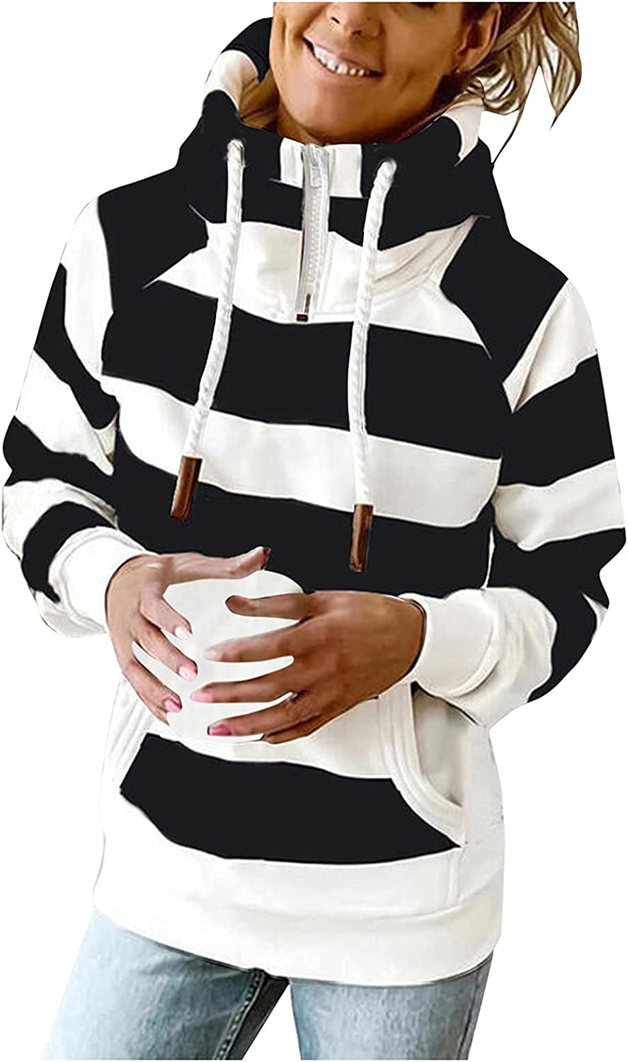 HONGJ Hoodies for Womens, Zipper Funnel Neck Drawstring Color Block Striped Patchwork Hooded Sweatshirts Casual Jackets