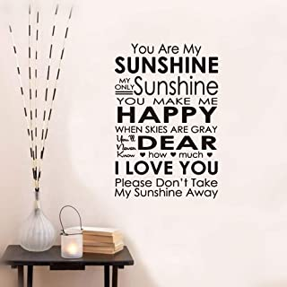 aqeuno Peel and Stick Removable Wall Stickers You are My Sunshine My Only Sunshine for Living Room Nursery Kids Room Baby Room Couple Room